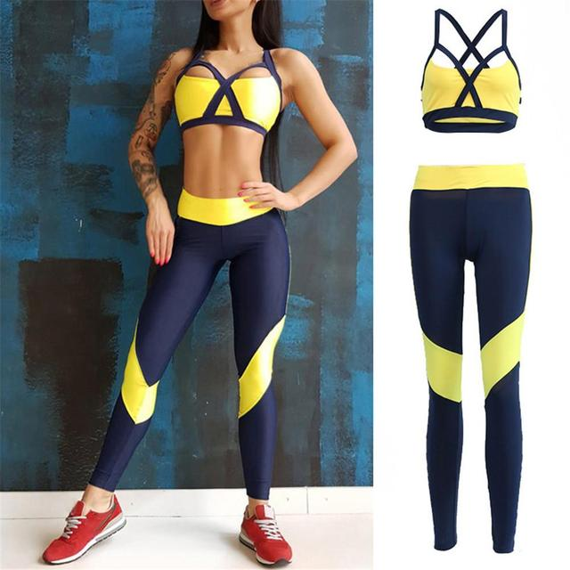 Women Tracksuit Sport Suit Yoga Set Fitness Gym Woman Sportswear Workout Kit Sports Bra Leggings Female Clothing Yellow 5