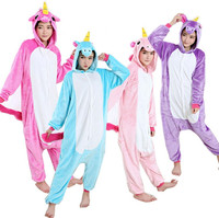 Rose Pink Purple Blue Unicorn Adult Flannel Costume Little Pony Cosplay Onesie Pajamas Jumpsuit For Halloween