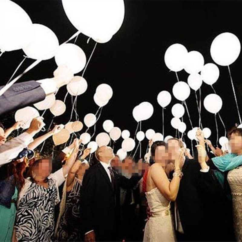 LED lamp balloon 10pca/lot 12 inch 2.8g round white latex baloons birthday party decorations wedding ballons holiday supplies