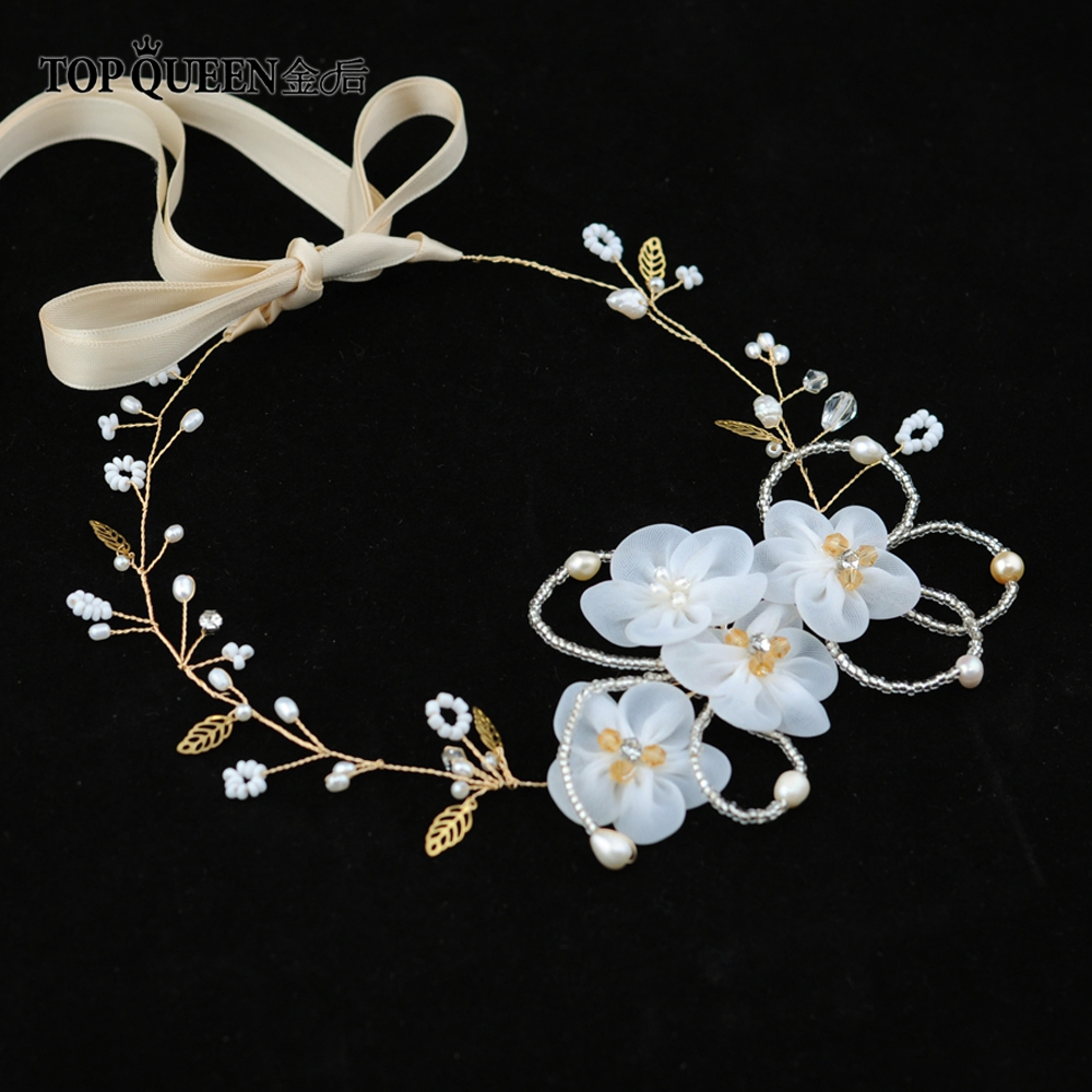 TOPQUEEN Golden Wedding Hair Accessories Cheap Bridal Headband Organza Flower Bridal Headband Bridal Hair Piece HP62