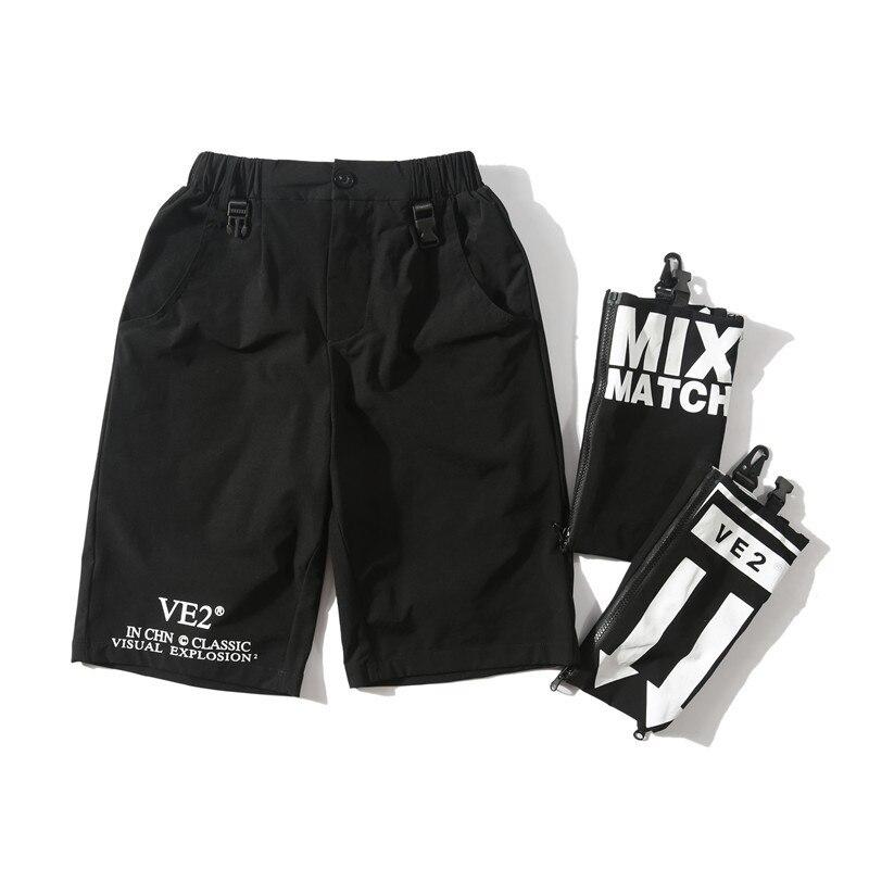 New Men Side Strap Buckle Detachable Pocket Cargo Baggy Shorts Summer Hip Hop Casual Streetwear Short Trousers Brand Male Shorts