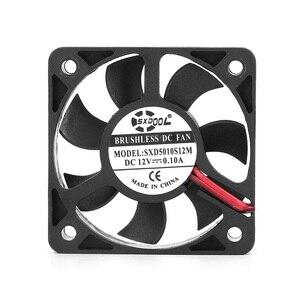 Image 2 - 2 個 3D ファン真新しい sxdool SXD5010S12M 50 ミリメートル 50*50*10 ミリメートルスリム 10 ミリメートル厚さ DC12V 0.10A 4500 rpm 11.2CFM 軸冷却ファン