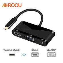 AHHROOU USB C Type C to HDMI VGA 3.5mm Audio Adapter 3 in 1 USB 3.1 USB-C Converter Cable For Laptop Macbook Google
