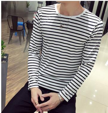 aeeb524c576984 ECTTC Casual Men Clothes 2019 Striped Sailor T-Shirt Men Summer Black White  Striped Loose