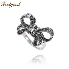 Feelgood Vintage Female Jewelry  Antique Silver Color Wedding Ring Black Austrian Crystal Retro Bow Rings For Women Party Gift