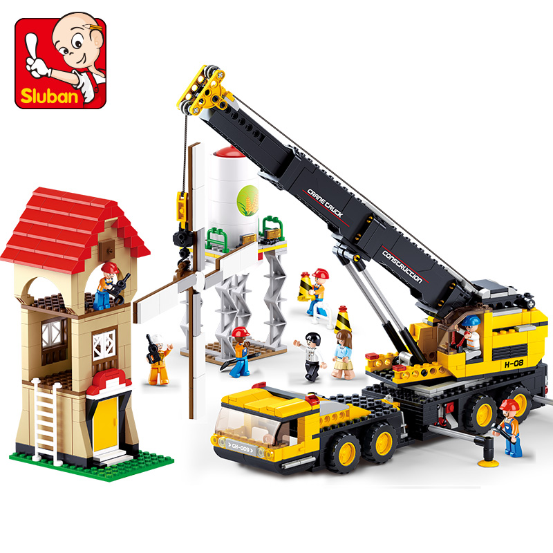 Sluban 0553 Model building block bricks kits city engineering Crane 889 3D blocks Educational toys hobbies children christmas kazi building blocks k87011 608pcs pirates black pearl model building kits model toy bricks toys hobbies blocks