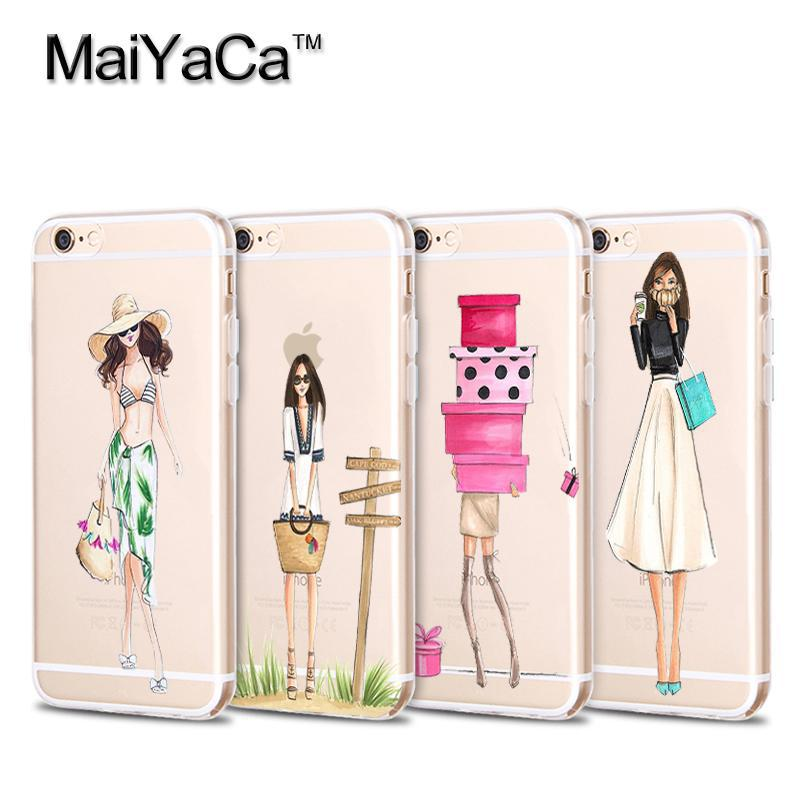 MaiYaCa módní šaty letní dívky Sexy žena holčičí Soft TPU telefonní doplňky Cover fundas pro iPhone 4s 5s 6s 7 plus pouzdro