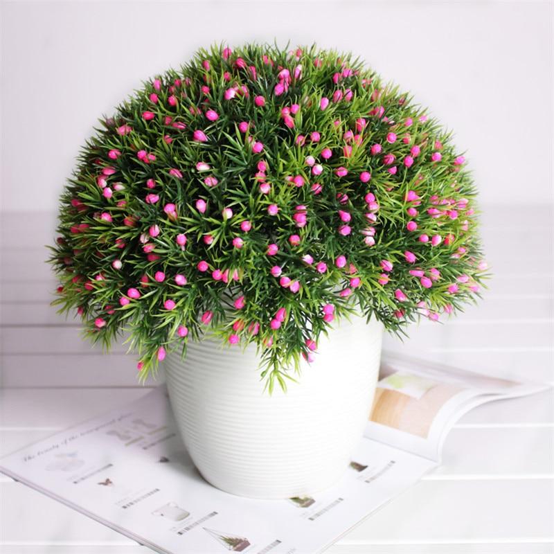 6pcs/lot Artificial plants Creative Mini Grass+Fruit Bonsai Potted Arranging Accessories Simulation Plant plastic flowers
