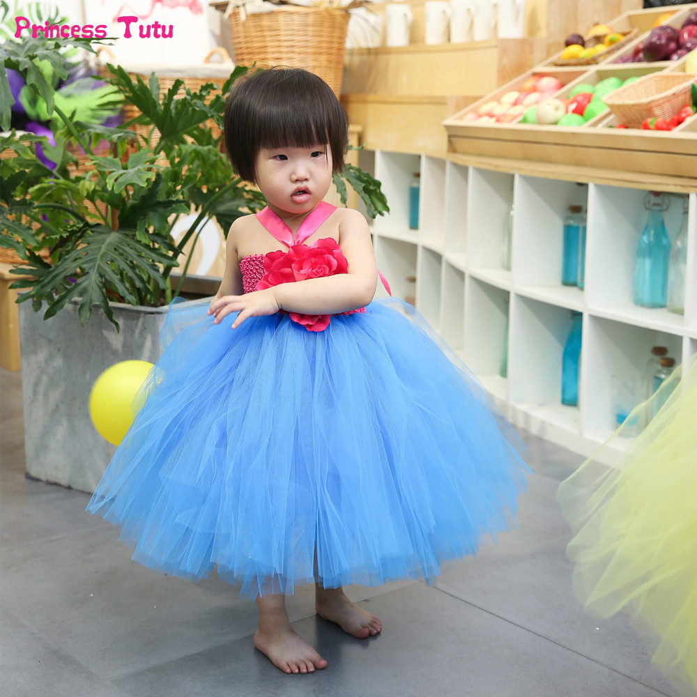 Flower Girl Tutu Dress For Birthday Party Flower Kids Tulle Dress Blue Mid-Calf Lovely Princess Children Girls Ball Gown Dresses silver gray purple pink blue ball gown tutu soft tulle puffy flower girl dress baby 1 year birthday dress with spaghetti straps