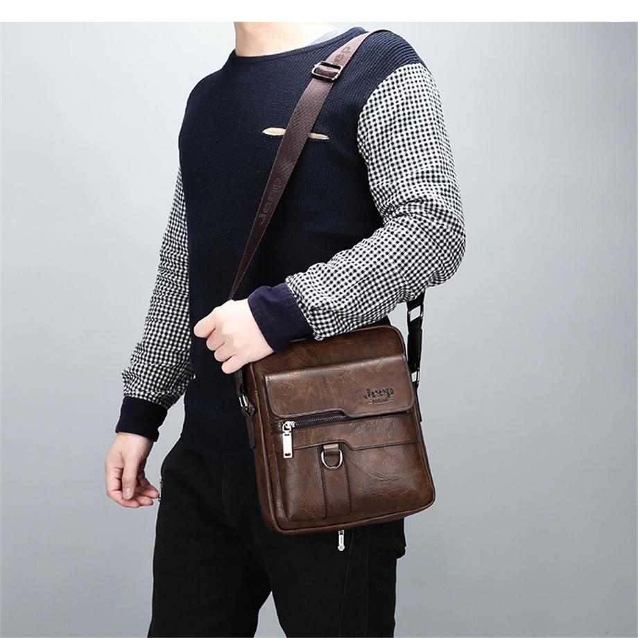 JEEP BULUO Luxury Brand Men Messenger Bags Crossbody Business Casual Handbag Male Spliter Leather Shoulder Bag Large Capacity 6
