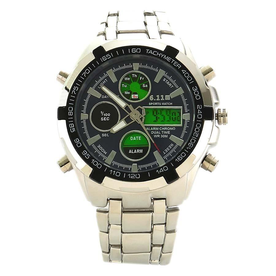 Hombres relojes calidad superior digital-reloj hombres Militar muñeca relojes acero lleno dual display muñeca relojes Relogio Masculino