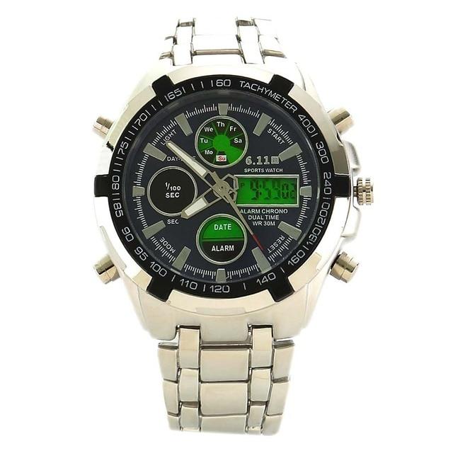ba19d8d7628 Homens Relógios Top Qualidade Digital-Relógio Homens Militar Relógios de  Pulso de Aço Cheio Dupla