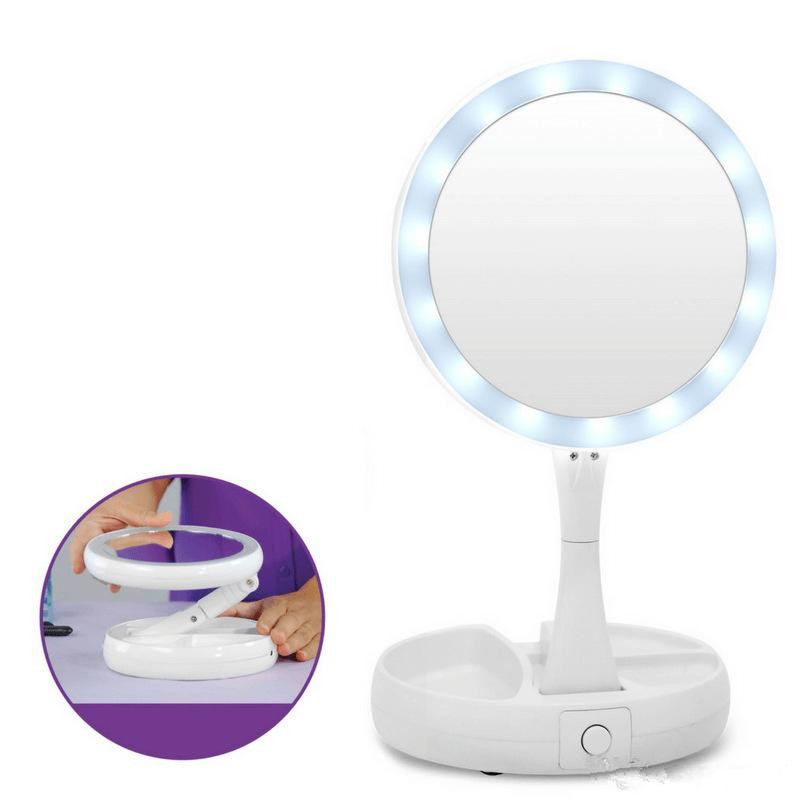 Foldable LED Makeup Mirror Professional 10X Magnifying Mirrors Tri-fold Desktop Mirror Mirror Make Up Tool With Storage Box