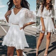 Sexy V-Neck White Lace Dress Ruffles Women Mini Dress 2019 Short Sleeve Summer Bohemian Beach Ladies Party Dress Vestidos цены