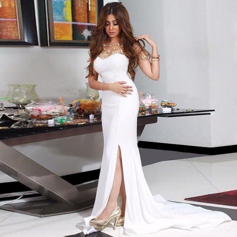 Белые платья с разрезом