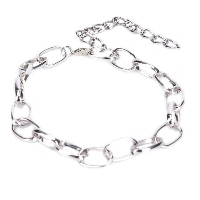 Punk Chunky naszyjniki Choker naszyjnik obroża komunikat rocznika metali ciężkich naszyjnik dla kobiet biżuteria dziewczęca prezent