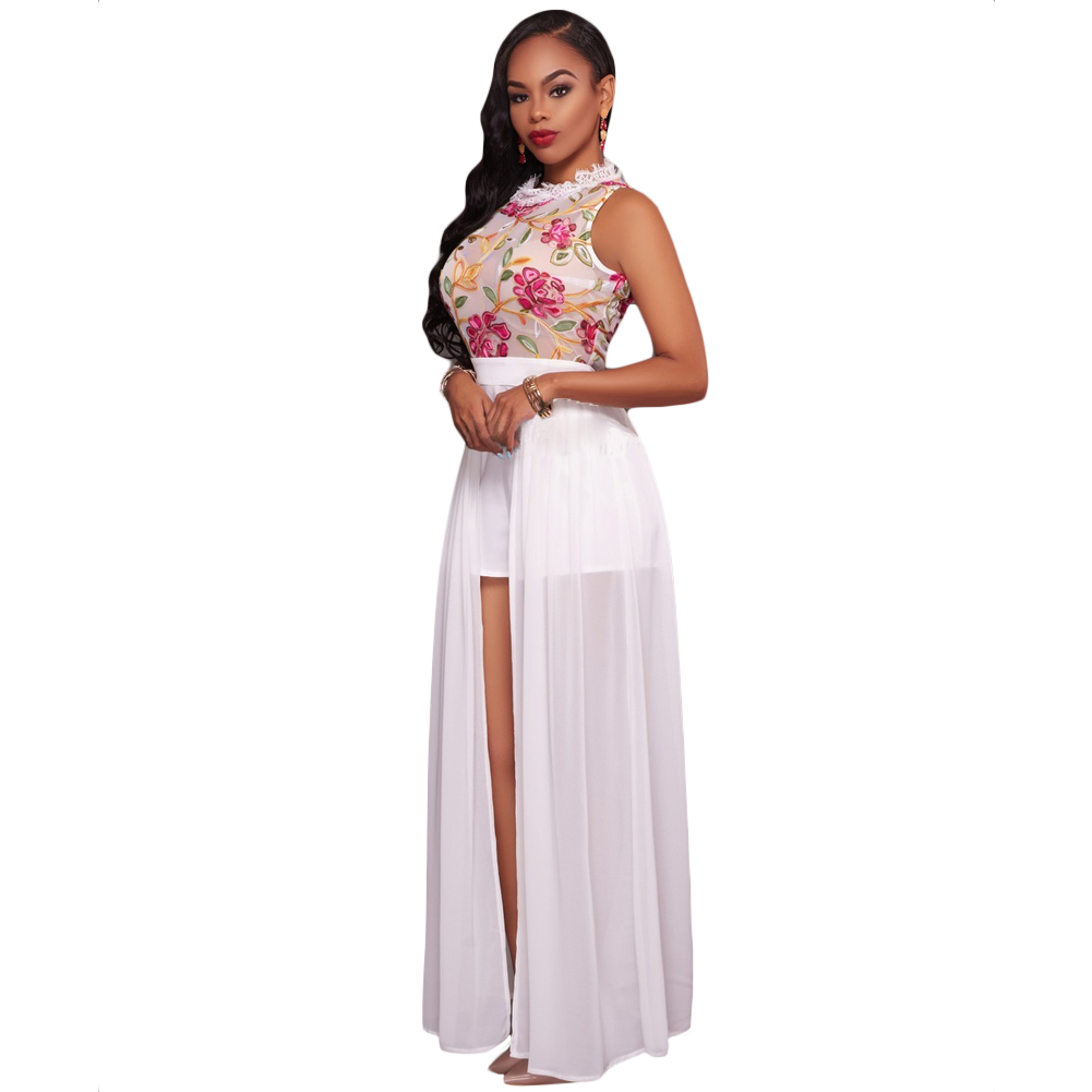 eb6a490062d3 Sexy Women Jumpsuit Sheer Mesh Floral Embroidery Jumpsuit Sleeveless ...