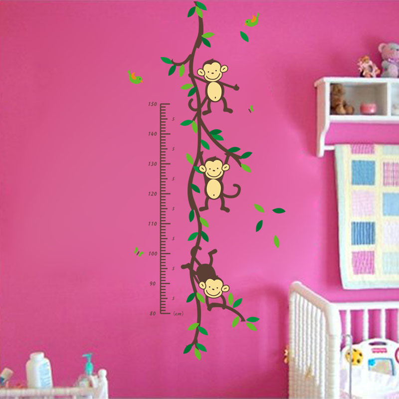 Monkey Height measure Wall Stickers For Children Room Decoration - Heminredning - Foto 6