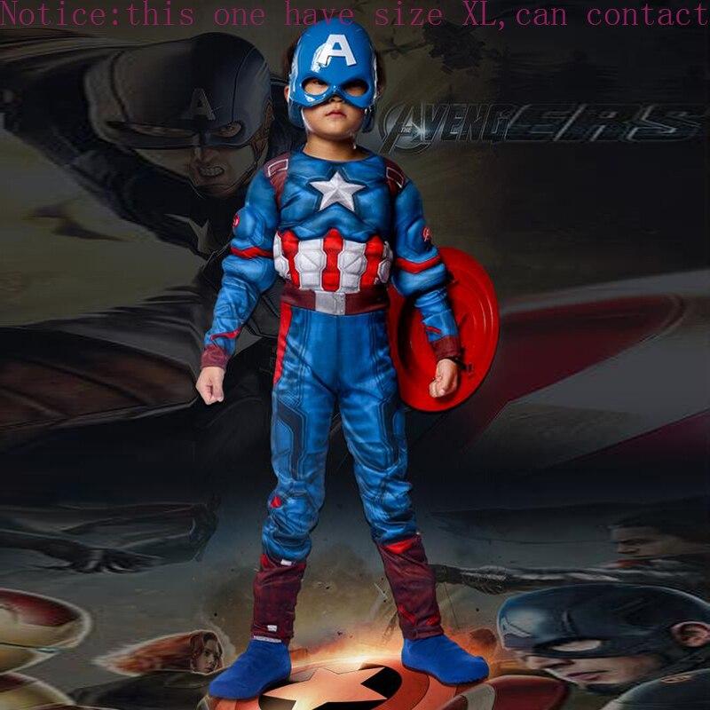 Superhero Kids Muscle Captain America Costume Avengers Child Cosplay Super Hero Halloween Costumes For Kids Boys Girls S-XL
