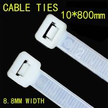 100pcs/lot 10*800mm National Standard Nylon Tie Plastic Fixed Buckle Lock Type Label Sign 8.8mm width Black/White