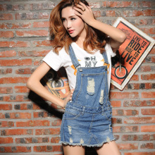Female suspender culottes fashion trend personality broken hole denim shorts skirts sexy ripped shorts divided skirts