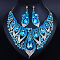 Exquisite morning glory forma bling cristal rhinestone colar brincos para as mulheres moda casamento africano conjuntos de jóias