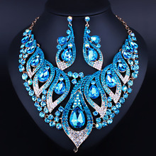 FARLENA New Design Fashion Wedding Jewelry Glass Crystal Rhinestone Necklace Earrings Set for Bridal African BeadsJewelry sets