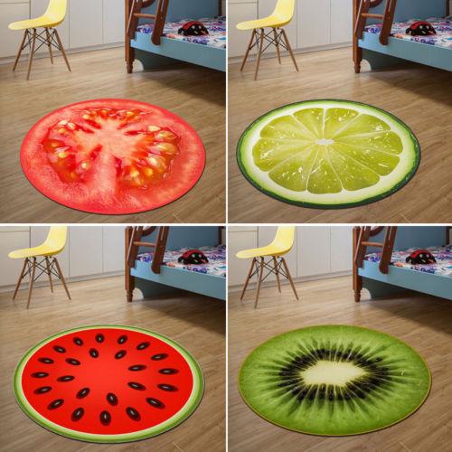 Home Warmly Fruit Rug Kids Sitting Carpet 3D Print Round Kitchen Door Soft Mat Hot