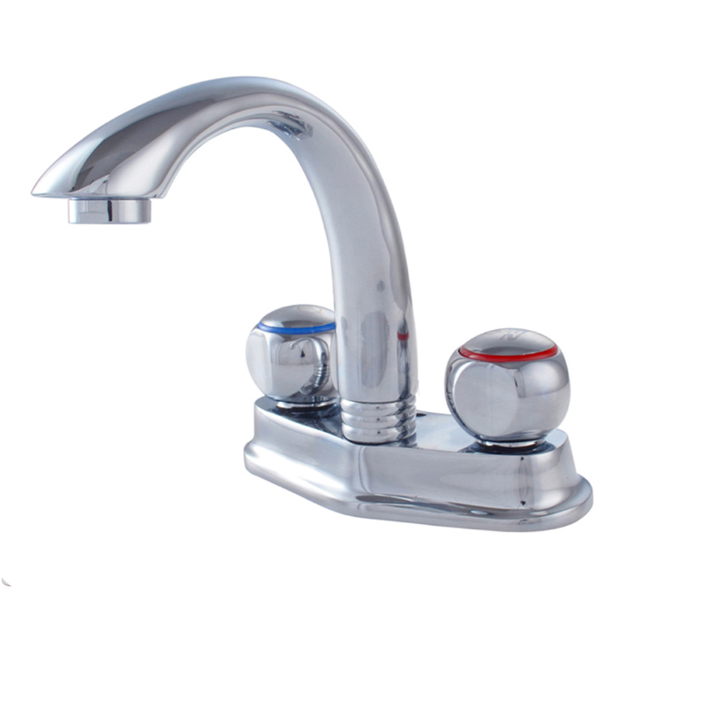 All copper double-hole basin faucet bathroom basin washbasin washbasin hot and cold mixed faucet wx6051128 wall of the cold and hot water tap copper concealed washbasin single hole basin faucet stainless steel waterfall faucet lt 304 4