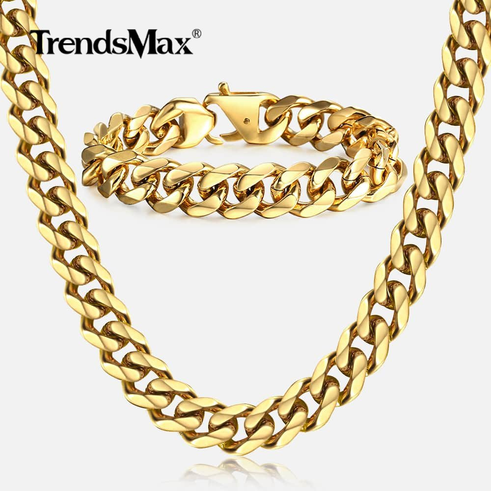 Trendsmax 316L Stainless Steel Hip Hop Necklace Bracelet Set Gold Color Curb Cuban Chain Boys Mens Jewelry Set <font><b>HS64</b></font> image