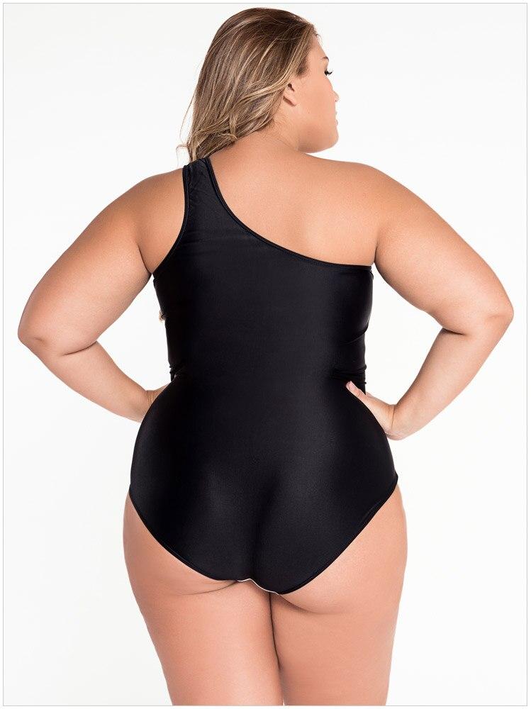 4e515ea3b0469 Women Swimwear Plus Size One Piece Sexy Monokinis Curvy Beauty Black ...