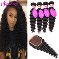 Malaysian Deep Wave With Closure Curly Weave Human Hair With Closure Deep Waves Curly Malaysian Virgin Hair With Closure 4x4''