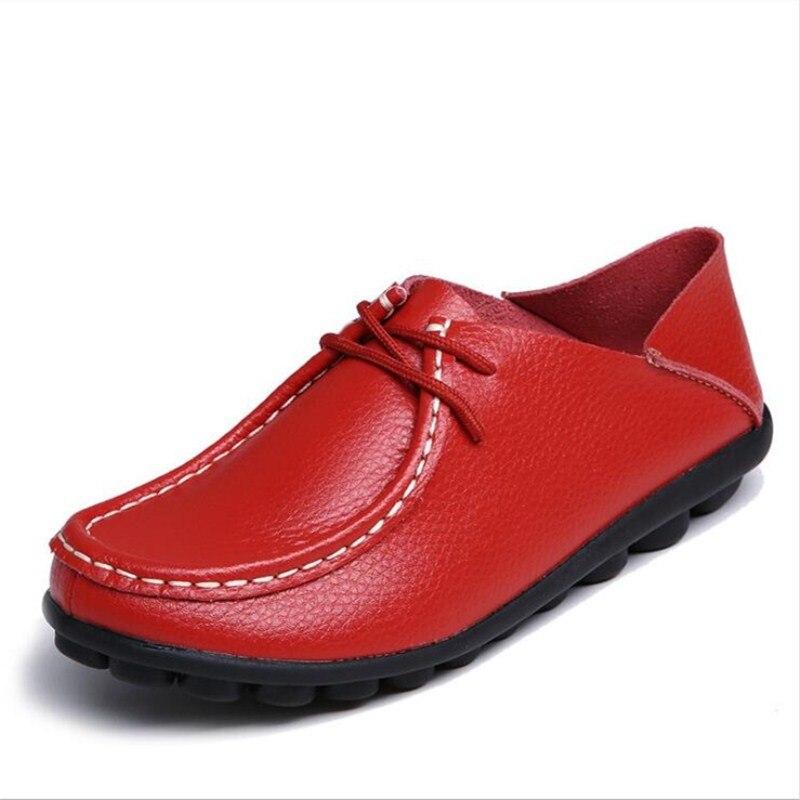 2019 Frühling Herbst Neue Mutter Mittleren Alters Leder Bean Schuhe Heiße Mode Kollokation Modelle Flache Freizeit Große Größe Frauen Schuhe