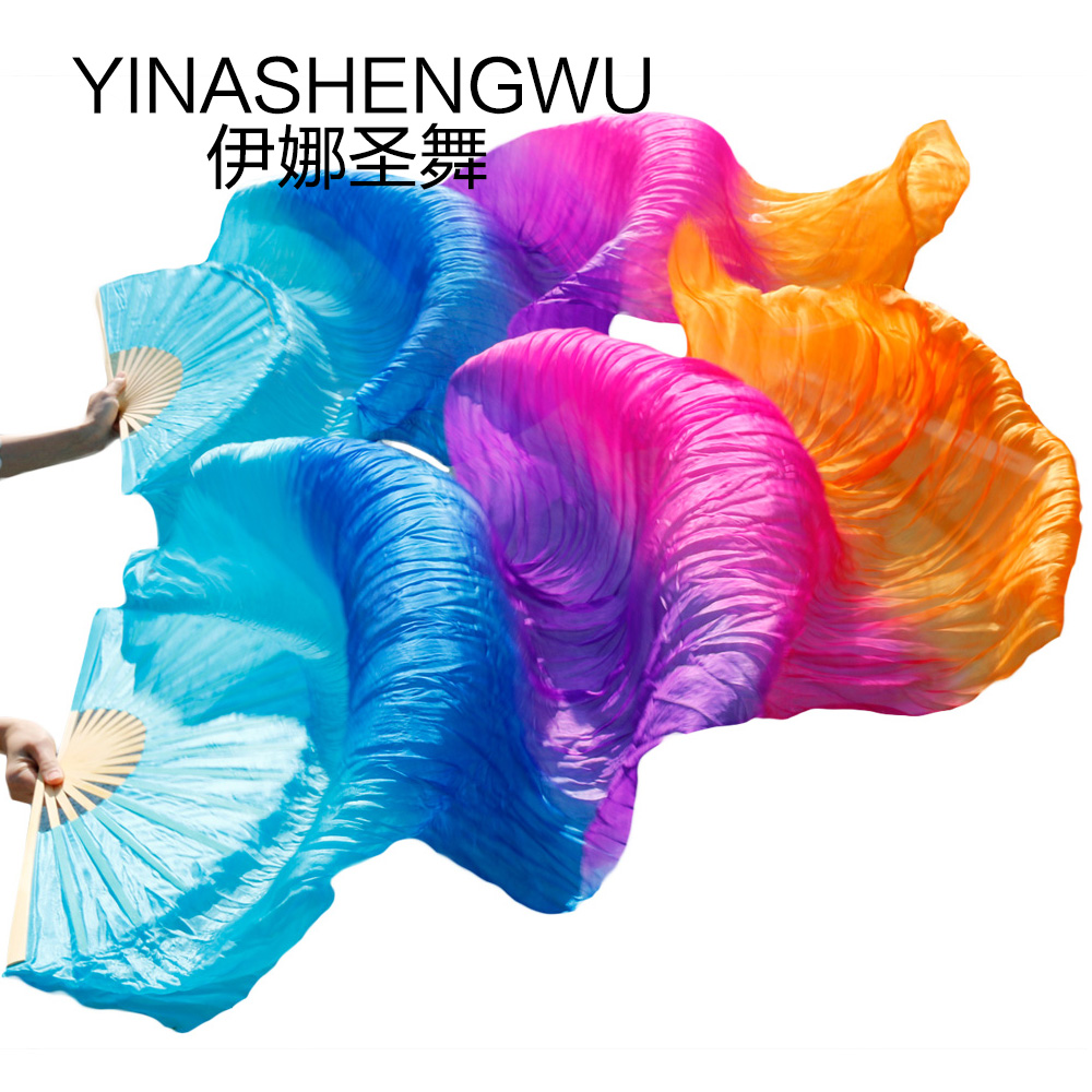 Belly Dance Silk Fans Bamboo Ribs Natural Silk Stage Performance Props Dye Fans Women Dance Fans