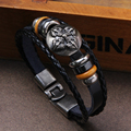 Black Genuine Leather Bracelet Men's Bangle Stainless Steel Fashion Retro Shield Charm Jewelry For Women