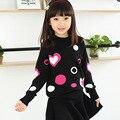 Зима подросток дети элегантный одежда для девочек 13 14 лет трикотажные пуловеры для детей Вишня Любви