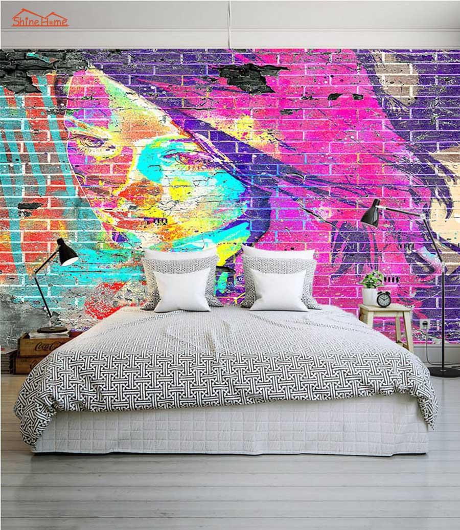 Abstract Sala Quarto Papel De Parede De Tijolos Graffiti 3d Rosto  ~ Papel De Parede Grafite Para Quarto