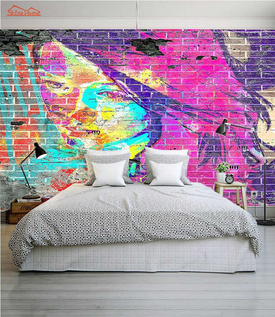 Room wall graffiti - Abstract Graffiti Brick 3d Room Wallpaper Female Face For 3d Livingroom Photo Wall Paper Prints Kids