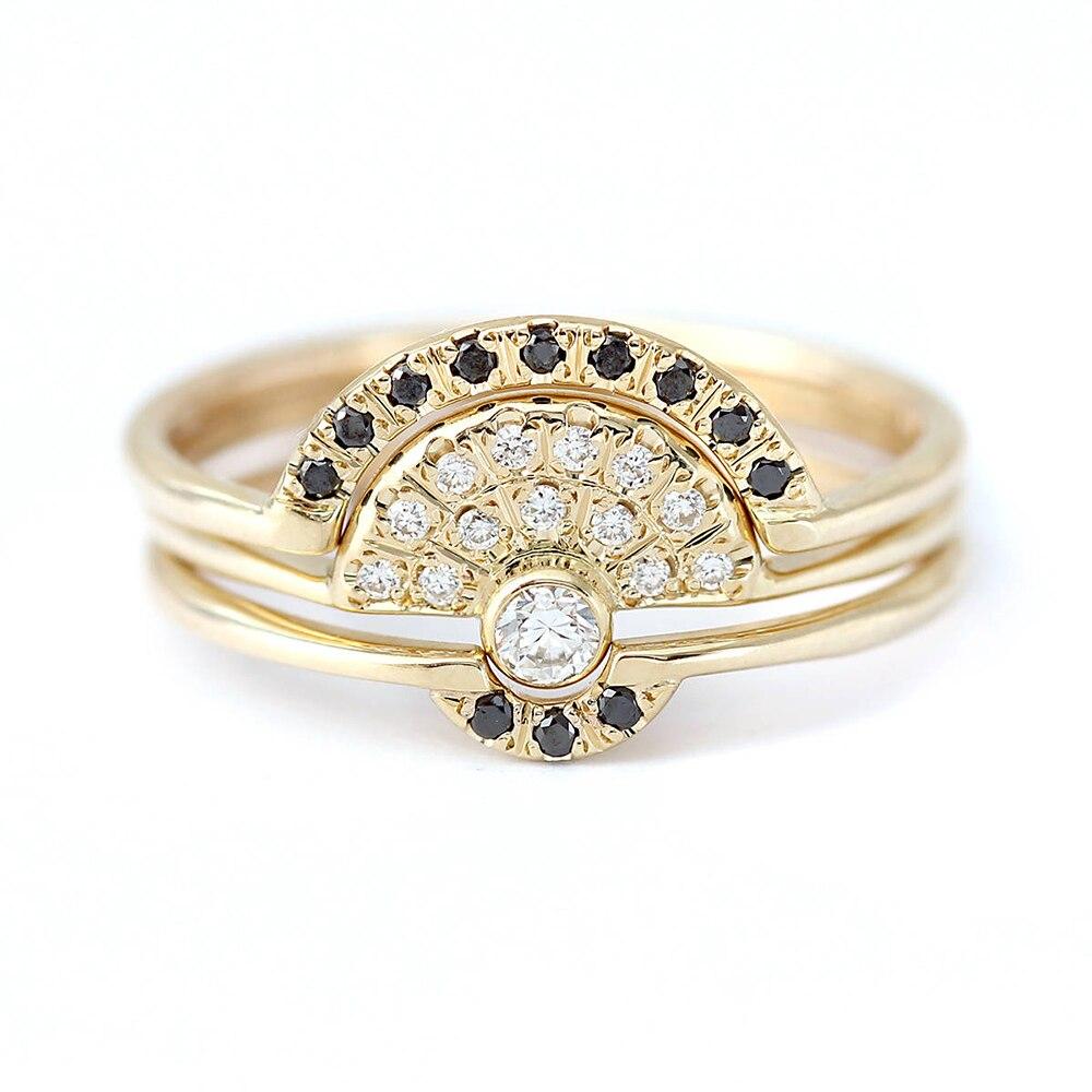 SOLID 14 К желтый бело-золотые и черный Муассанит Обручение всего 0.8ctw лаборатории солитер обручальное кольцо Набор для Для женщин