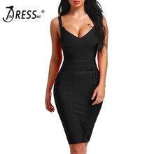 Women's Bandage Dress New Sexy Spaghetti Strap Deep V Backless Fashion Dress Bodycon Femme Vestidos Club Party
