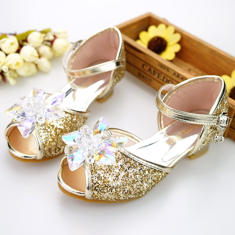 Image 4 - Children shoes girls high heel summer shoes for girls fashion blue crystal wedding sandals fish mouth princess shoes JHL502 1-in Sandals from Mother & Kids