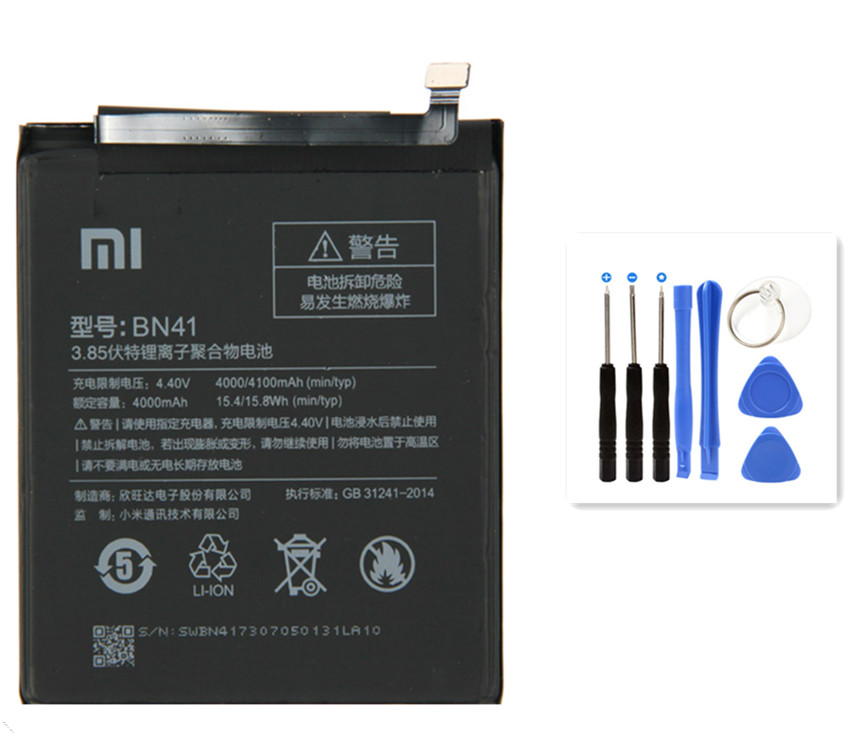 Téléphone intégré Batterie au lithium Remplacement batteries BN41 4000 mah Pour Xiao mi mi Rouge mi Hong mi Note 4/ 4X Bateria + Outils Gratuits