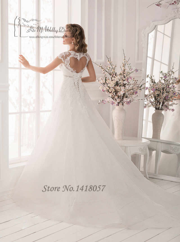 d0708008e84d4 Vestido de Noiva Plus Size White Maternity Wedding Dresses Lace Empire  Bridal Dress Gowns Cap Sleeve Corset Back Belt Brautkleid