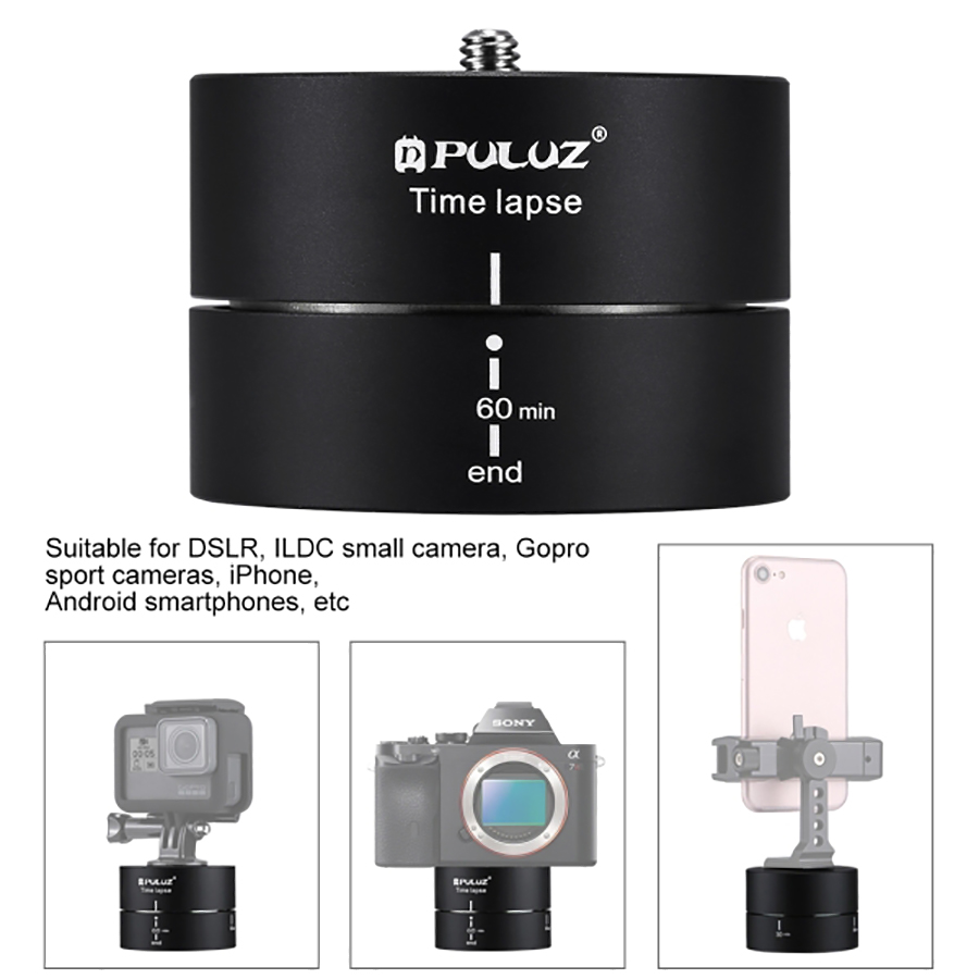 PULUZ Camra Time lapse 360 Panoramic Panning Rotation 60 Minutes Gopro Stabilizer Tripod Head Adapter Timelapse in Tripod Heads from Consumer Electronics