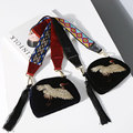 KIKIMOLY Women 2017 Fashion Designer Velvet Crane Bird Embroidery Aztec Geometric Straps Fringe Wear Accessories