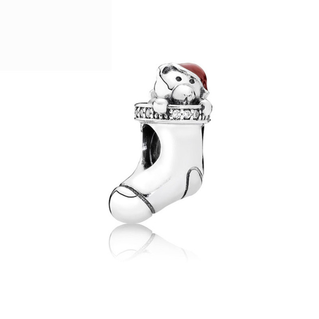 Free Shipping Christmas Gift 1pc Silver Sock Bear With Red Hat Bead Charms  Fit European Pandora
