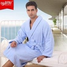 Плюс размер мужчины халат хлопка пары пижамы любителей халат пижамы полотенце руно длинные thincking home hotel зима белый синий