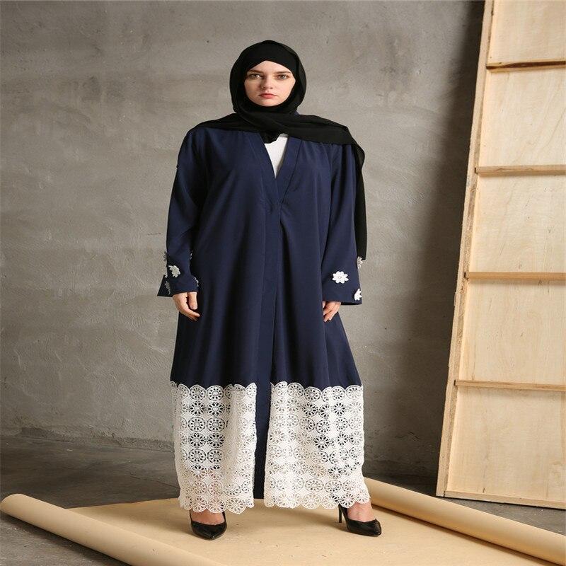 Povremni musliman Maxi haljina čipka patchwork dugi rukav vestidos - Nacionalna odjeća - Foto 2