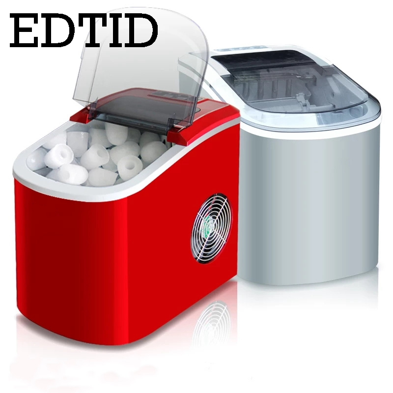 EDTID Mini Automatic Electric Ice Maker Portable Bullet Round Block Ice Cube Making Machine Small Bar Coffee Shop 15kgs/24H EU
