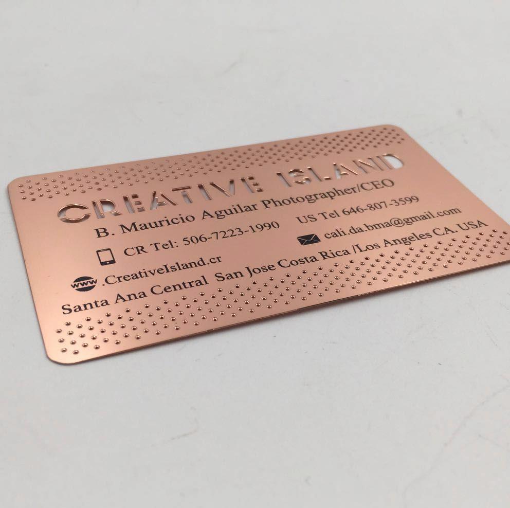 Professional Design Custom Logo Rose Gold Brass Metal Business Card